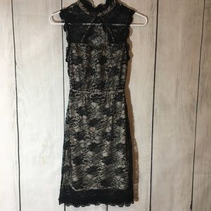 Modcloth Nude Floral Lace Overlay Dress Open Back